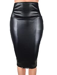 Недорогие -Жен. Классический Полиуретановая Облегающий силуэт Подол Однотонный Коричневый Черный Винный XL XXL XXXL