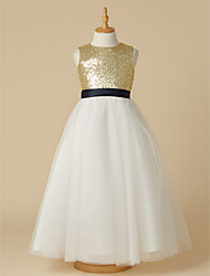 cheap -A-Line Ankle Length Pageant Flower Girl Dresses - Tulle / Sequined Sleeveless Jewel Neck with Sash / Ribbon / Bow(s)