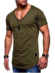 abordables -Tee-shirt Grandes Tailles Homme, Couleur Pleine - Coton Sports Basique Mince Gris / Manches Courtes / Eté