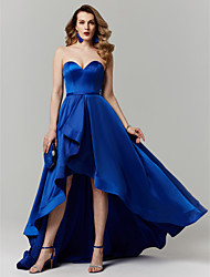 cheap -Ball Gown Sweetheart Neckline Asymmetrical Satin Elegant Cocktail Party / Prom / Formal Evening Dress 2020 with Sash / Ribbon