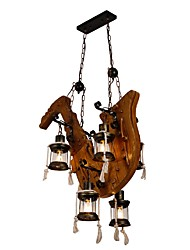 cheap -JLYLITE 6-Light 75 cm Mini Style Chandelier Metal Glass Industrial Painted Finishes Artistic / Retro Vintage 110-120V / 220-240V