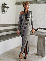 cheap -Women's Maxi Dark Gray Black Dress Sexy Sophisticated Daily Going out Shift Solid Color Off Shoulder Split S M