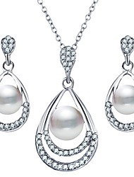 cheap -Women's Pearl Jewelry Set Drop Ladies Simple Sweet Imitation Pearl Earrings Jewelry Silver For Wedding Daily Masquerade Engagement Party Prom Promise