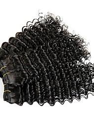 cheap -3 Bundles Brazilian Hair Deep Wave Human Hair Natural Color Hair Weaves / Hair Bulk One Pack Solution Human Hair Extensions 8-28 inch Natural Color Human Hair Weaves Extention Best Quality Cool Human