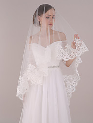 cheap -One-tier Modern Style / Accessories / Flower Style Wedding Veil Blusher Veils / Chapel Veils with Splicing Tulle / Oval / Lace Applique Edge