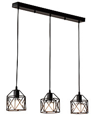 cheap -3-Light Vintage 3-Head Black Metal Cage Loft Pendant Lights Living Room Dining Room Light Fixture