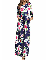 cheap -Women's Floral Maxi Yellow Royal Blue Dress Boho Summer Daily Holiday Swing Floral Print S M