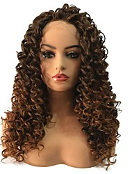 cheap -Synthetic Lace Front Wig Curly Middle Part Lace Front Wig Long Dark Brown / Medium Auburn Synthetic Hair Women's Heat Resistant African American Wig Brown StrongBeauty