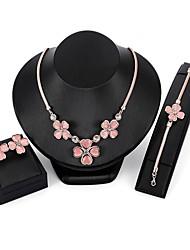 cheap -Women's Cubic Zirconia Jewelry Set Chain Bracelet Stud Earrings Flower Ladies Zircon Gold Plated Opal Earrings Jewelry Pink For Wedding Evening Party / Pendant Necklace