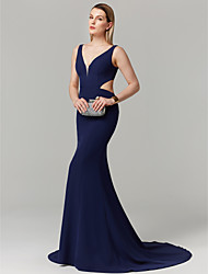 cheap -Mermaid / Trumpet Elegant Holiday Cocktail Party Prom Dress Plunging Neck Sleeveless Court Train Spandex with Pleats 2020 / Formal Evening