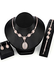 cheap -Women's Synthetic Opal Jewelry Set Chain Bracelet Drop Earrings Statement Ladies Fashion Zircon Gold Plated Opal Earrings Jewelry Pink For Wedding Evening Party / Pendant Necklace