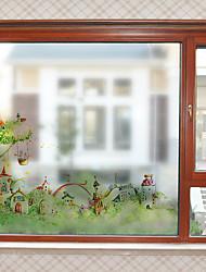 Недорогие -Мультяшный замок шаблон матовая оконная пленка цепляется винил теплоизоляция защита частной жизни домашнего декора для окна двери шкафа стикер / наклейка окна