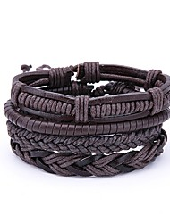 cheap -4pcs Men's Wrap Bracelet Vintage Leather Bracelet Jewelry Brown For Daily Club
