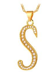 cheap -Men's Women's Cubic Zirconia tiny diamond Pendant Necklace Name Alphabet Shape Owl Fashion Zircon Copper Gold Silver 55 cm Necklace Jewelry For Daily