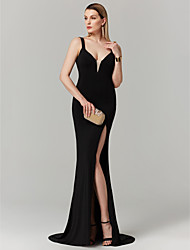cheap -Mermaid / Trumpet Open Back Furcal Holiday Cocktail Party Prom Dress Plunging Neck Sleeveless Sweep / Brush Train Jersey with Split Front 2020 / Formal Evening