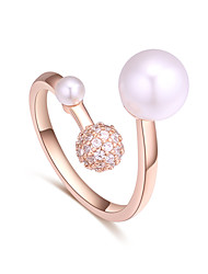 cheap -Women's Band Ring wrap ring Cubic Zirconia Silver Rose Gold Imitation Pearl Zircon Copper Simple European Fashion Wedding Party Jewelry Ball