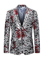 cheap -Men's Party / Going out Regular Blazer, Floral V Neck Long Sleeve Cotton / Polyester Silver