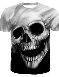 abordables -Tee-shirt Grandes Tailles Homme, Crânes Imprimé Crâne / Basique Col Arrondi Gris / Manches Courtes / Eté