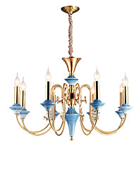 cheap -ZHISHU 8-Light 77 cm Mini Style / Candle Style Chandelier Metal Candle-style Brass Rustic / Lodge / Traditional / Classic 110-120V / 220-240V