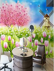 cheap -3D Custom Garden Windmill Cartoon Large Wall Covering Mural Wallpaper Suitable Bedroom Restaurant Children