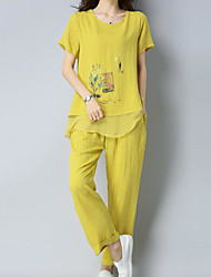 abordables -Femme Grandes Tailles Basique Set - Fleur, Imprimé Pantalon / Printemps