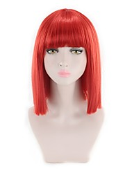 cheap -Synthetic Wig Straight Kardashian Bob Wig Pink Short Pink Red Synthetic Hair Women's Synthetic New Arrival Red Pink
