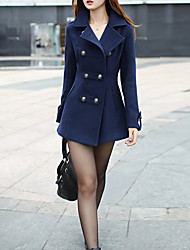 cheap -Women's Daily / Going out Vintage Fall / Winter Regular Coat, Solid Colored Peaked Lapel Long Sleeve Cotton / Polyester Pleated Red / Navy Blue / Puff Sleeve