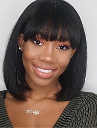 cheap -Synthetic Wig Straight Bob With Bangs Wig Medium Length Natural Black Synthetic Hair 14 inch Women's With Bangs Black