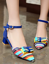 cheap -Women's Heels Low Heel Bowknot / Buckle PU Comfort / Novelty Spring / Fall Black / Red / Blue / Party & Evening