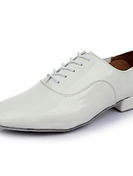 cheap -Men's Dance Shoes Patent Leather Latin Shoes Heel Thick Heel Customizable White / Performance / Practice