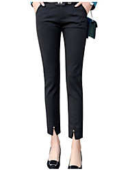 cheap -Women's Basic Casual / Daily Work Slim Pants Pants - Solid Colored Split Black Red Navy Blue L XL XXL