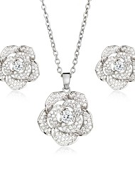 cheap -Women's Cubic Zirconia Jewelry Set Stud Earrings Pendant Necklace Floral / Botanicals Flower Ladies Sweet Elegant Zircon Silver Plated Gold Plated Earrings Jewelry Gold / Silver For Wedding Party