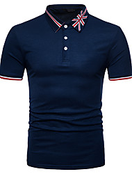 cheap -Men's Striped Solid Colored Patchwork Polo Street chic Daily Weekend Shirt Collar Black / Light gray / Summer / Short Sleeve