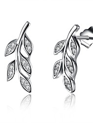 cheap -Women's Cubic Zirconia tiny diamond Stud Earrings Leaf Ladies Fashion S925 Sterling Silver Earrings Jewelry Silver For Gift Daily