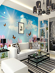 cheap -3D Butterfly Floral Art Deco Mural Canvas Wall Covering
