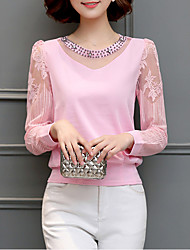 cheap -Women's Solid Colored Blouse Daily Weekend White / Black / Purple / Yellow / Red / Fuchsia / Pink / Light Blue