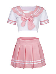 cheap -Women's Sexy Uniforms & Cheongsams Nightwear - Pleated Color Block Blushing Pink One-Size