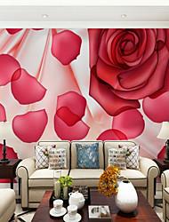 cheap -3D Custom Red Rose Large Wall Covering Mural Wallpaper Fit Bedroom Restaurant Flower