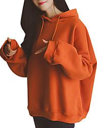 cheap -Women's Hoodie Letter Hoodies Sweatshirts  Cotton Blue Orange Light gray / Spring / Fall