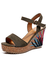 cheap -Women's Sandals Wedge Sandals 2020 Spring & Summer Wedge Heel Open Toe Classic Chinoiserie Daily Outdoor PU Black / Green / Beige