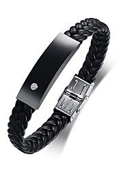 Недорогие -Муж. Кожаные браслеты Мода Кожа Браслет Ювелирные изделия Черный Назначение Повседневные Школа