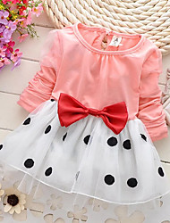cheap -Toddler Girls' Sweet Cute Daily Holiday School Black & White Polka Dot Patchwork Bow Long Sleeve Long Dress Navy Blue / Going out
