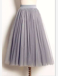 cheap -Women's Tutus / Cute Maxi Swing Skirts - Solid Colored Tulle White Black Gray M L XL