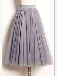 Недорогие -Жен. Тюлевая юбка / Симпатичные Стиль Макси Качеля Подол Однотонный Белый Черный Серый M L XL