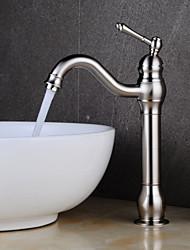 cheap -Bathroom Sink Faucet - Standard Nickel Brushed Centerset Single Handle One HoleBath Taps