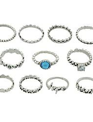 cheap -Ring Set Silver Imitation Tourmaline Alloy Heart Flower Letter Ladies Basic Fashion 11pcs 7 / Women's