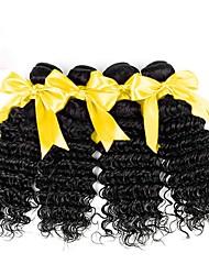 cheap -4 Bundles Malaysian Hair Wavy Deep Wave Virgin Human Hair 200 g Natural Color Hair Weaves / Hair Bulk Extension Human Hair Extensions Natural Color Human Hair Weaves Soft Easy dressing Hot Sale Human
