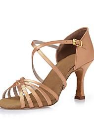 cheap -Women's Dance Shoes Silk Latin Shoes Ribbon Tie Heel Stiletto Heel Customizable Black / Dark Brown / Nude / Leather / Practice / EU39