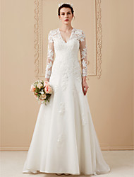 cheap -A-Line V Neck Sweep / Brush Train Satin / Lace Over Tulle Long Sleeve Open Back Made-To-Measure Wedding Dresses with Appliques 2020 / Illusion Sleeve / Royal Style