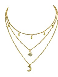 cheap -Women's Layered Necklace Moon Star North Star Ladies Alloy Gold 40.5 cm Necklace Jewelry For Party / Evening School